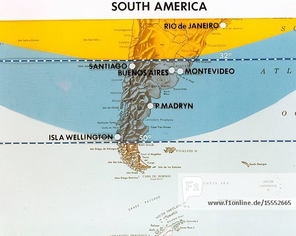 This map of South America has been marked to indicate areas of photographic imagery available from Apollo photography (32-degree orbits) as opposed to that imagery which will be available from a 50-degree inclined orbit. The region between the two broken lines will be in the area that can be covered by the first manned Skylab mission in 1973.