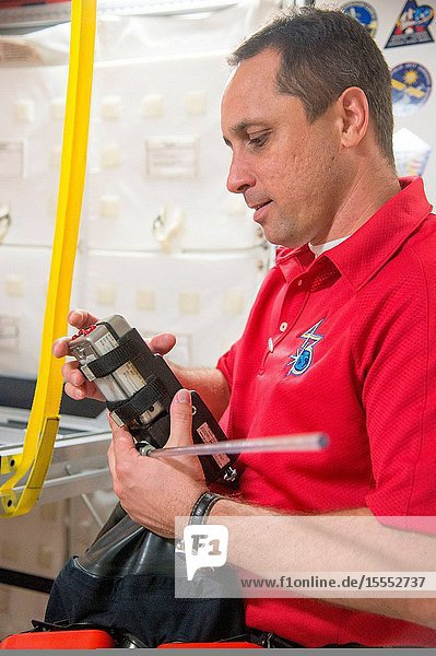 Russian cosmonaut Anton Shkaplerov  Expedition 4243 flight engineer  participates an emergency scenario training session in an International Space Station mock-uptrainer in the Space Vehicle Mock-up Facility at NASA's Johnson Space Center.