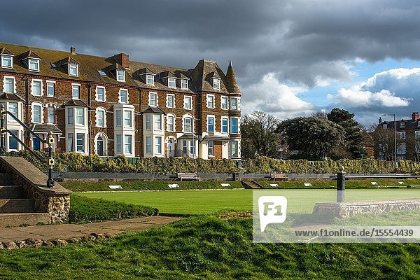 Cliff Parade bowling green and terrace of houses at Hunstanton  Norfolk