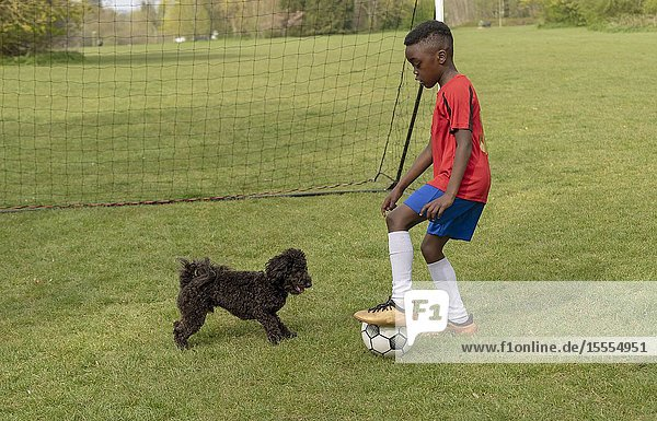 Hampshire  England  UK. April 2019. A young football player defending the goal during a traning session with his pet dog in a public park.