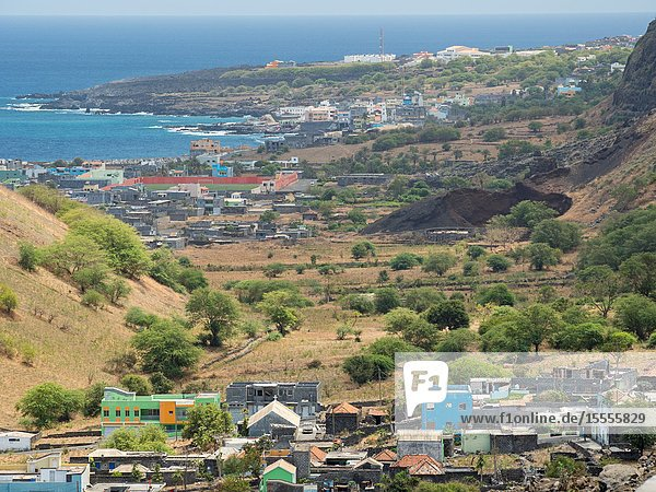 Town Mosteiros in the north of the island Fogo Island (Ilha do Fogo)  part of Cape Verde in the central atlantic.