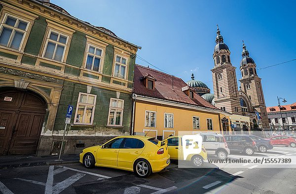 Historical houses on Mitropoliei Street in Historic Center of Sibiu city  Romania. View with Romanian Orthodox Holy Trinity Cathedral.