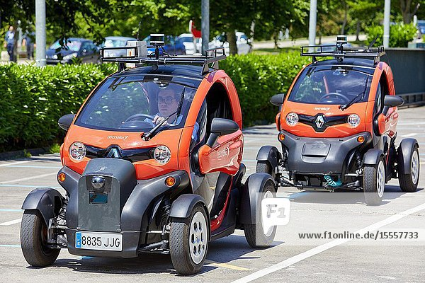 Twizzy  electric vehicle  Researchers work in two electric cars  the first one piloted manually and the second one will follow it completely autonomously taking into account at all times the behavior of car 1 to manage its maneuvers  Industry Unit  Automotive Industry  Technology Centre  Tecnalia Research & Innovation  Derio  Bizkaia  Basque Country  Spain