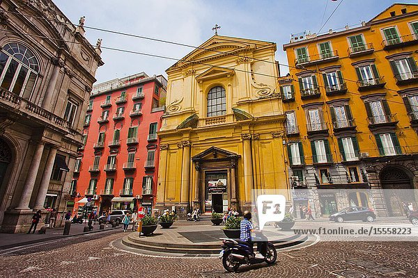 Basilica dello Spirito Santo church  at left Palazzo Doria d'Angri  piazza Sette Settembre square  Naples city  Campania  Italy  Europe.