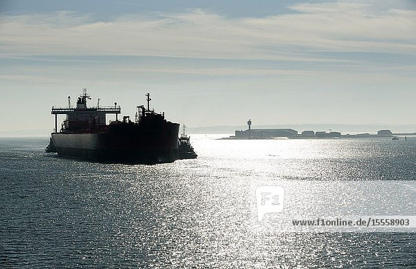 Southampton Water  Hampshire  England  UK. February 2019. Early morning against the light shot of a tug in attendance moving a broad beam oil tanker onto a berth at Fawley refinery.