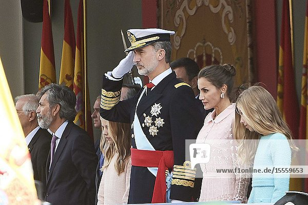 King Felipe VI of Spain  Queen Letizia of Spain  Crown Princess Leonor  Princess Sofia attends National Day military parade on October 12  2019 in Madrid  Spain