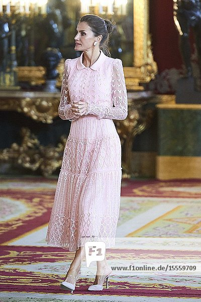 King Felipe VI of Spain  Queen Letizia of Spain attended Reception for The National Day at Royal Palace on October 12  2019 in Madrid  Spain