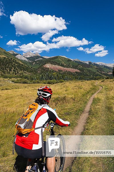 Mountain biker on the Galloping Goose Trail  Uncompahgre National Forest  Telluride  Colorado USA (MR).