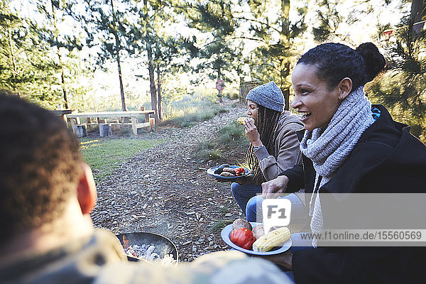 Happy friends eating at campsite in woods