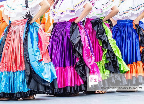 Billingham  north east England  UK. 10th August 2019. Dancers from Costa Rica performing at the Billingham International festival of World Dance  now in its 55th year.