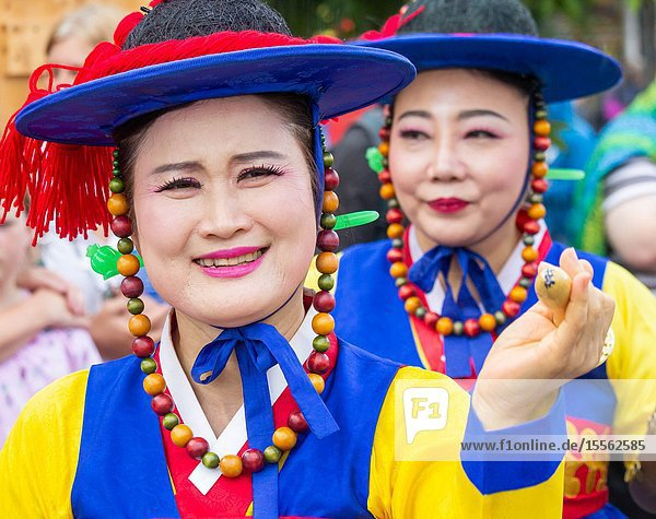 Billingham  north east England  UK. 10th August 2019. Dancers from South Korea performing at the Billingham International festival of World Dance  now in its 55th year.