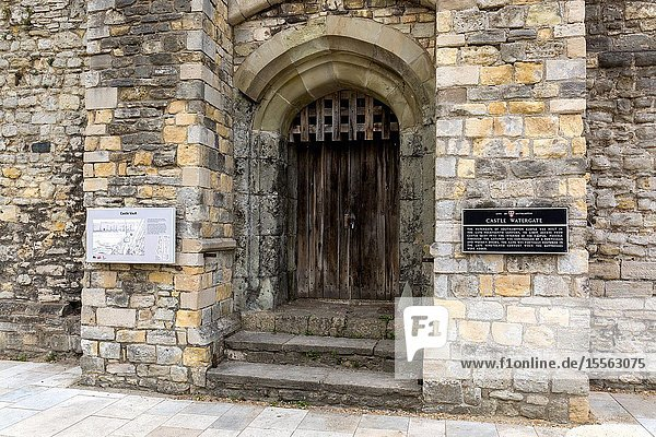Castle watergate. 14th century gateway. Tourist information plaque. Southampton City Walls. Southampton England UK.