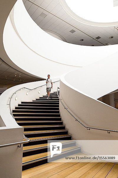 Interior spiral staircase. Museum of Liverpool. England UK.