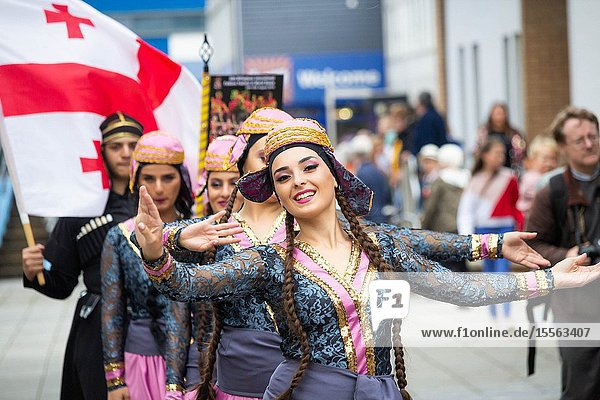 Billingham  north east England  UK. 10th August 2019. Dancers from Georgia performing at the Billingham International festival of World Dance  now in its 55th year.