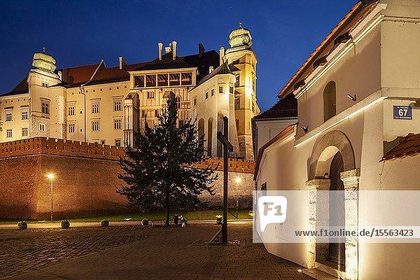 Evening at Wawel royal castle in Kraków  Poland.