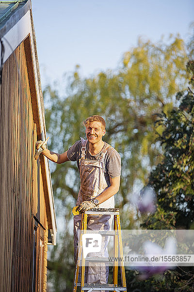 Portrait confident male painter on ladder painting home exterior