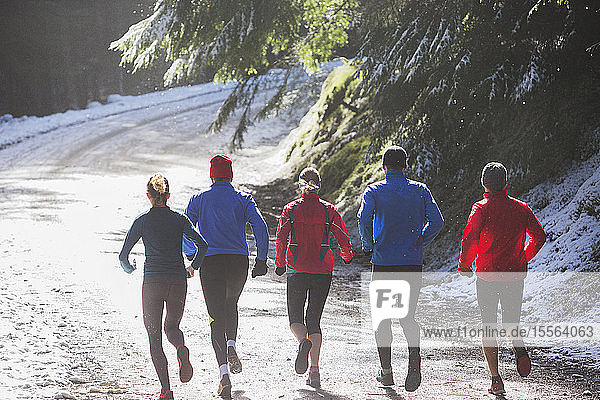 Family jogging in winter woods