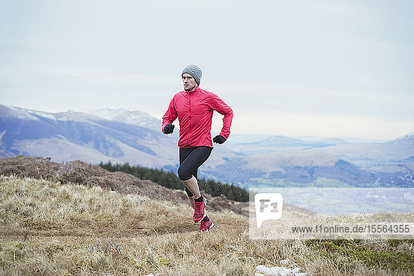 Man jogging on mountain