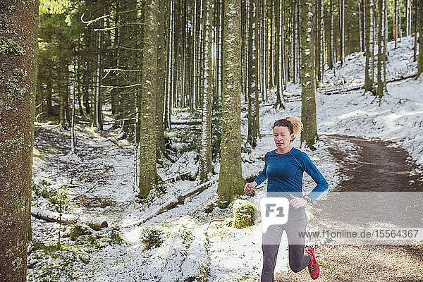 Woman jogging in snowy woods