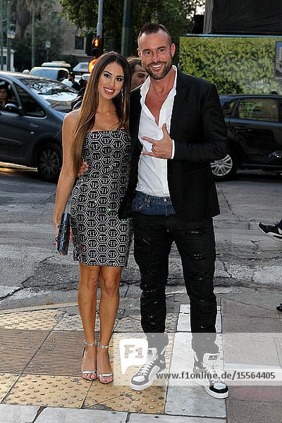 Fashion designer PHILIPP PLEIN with his girlfriend LUCIA arrive at the opening of his store in the center of Athens.