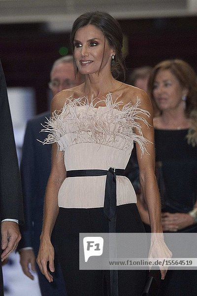 Queen Letizia of Spain attended '28th Musical Week' closing concert at Principe Felipe Auditorium on October 17  2019 in Oviedo  Spain