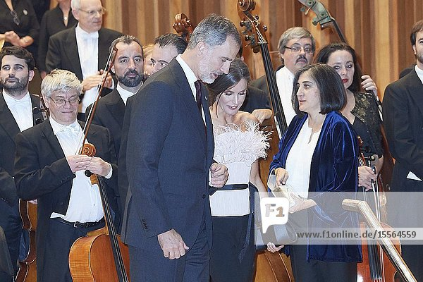 King Felipe VI of Spain  Queen Letizia of Spain attended '28th Musical Week' closing concert at Principe Felipe Auditorium on October 17  2019 in Oviedo  Spain