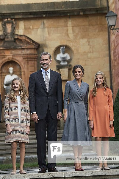 King Felipe VI of Spain  Queen Letizia of Spain  Crown Princess Leonor  Princess Sofia arrived to Alfonso II Square (Cathedral's Square) for Princesa de Asturias Awards 2019 on October 17  2019 in Oviedo  Spain