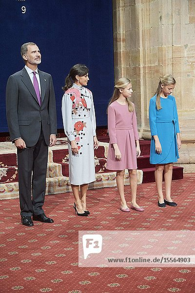 King Felipe VI of Spain  Queen Letizia of Spain  Crown Princess Leonor  Princess Sofia attended Audience with Princesa de Asturias Awards 2019 winners at Reconquista Hotel on October 18  2019 in Oviedo  Spain
