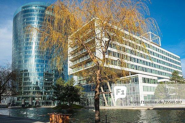 'Viertel Zwei' modern business and residential district with OMV building. Vienna  Austria.