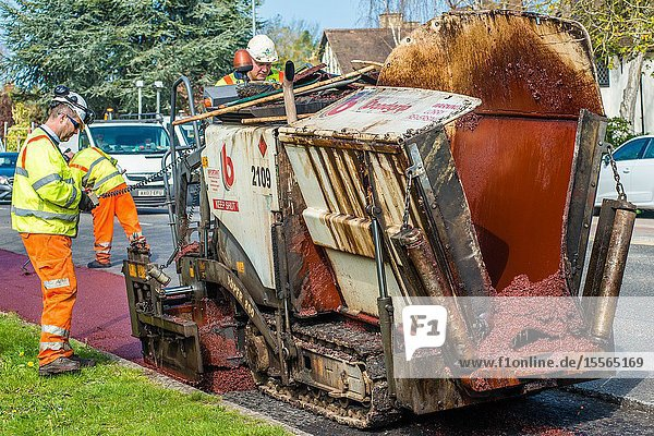 Major road resurfacing work including cycle path on Huntingdon Rd  Cambridge  UK.