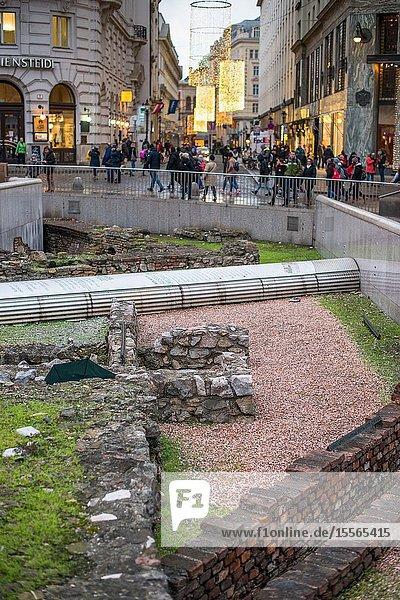 Remains of Vindobona a Roman military camp at Michaelerplatz,  Vienna city centre,  Austria.