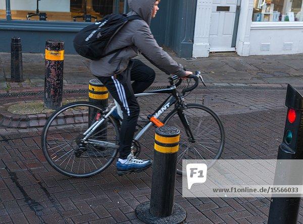 Automatic rising bollards to restrict traffic in Cambridge city centre  Cambridgeshire  England  UK.