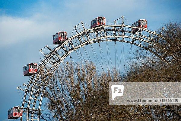 Giant Ferris Wheel at Prater Amusement park  Vienna  Austria.