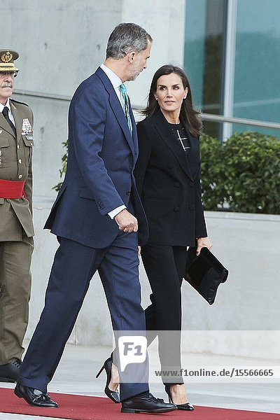King Felipe VI of Spain  Queen Letizia of Spain depart from Adolfo Suarez Madrid-Barajas Airport to Tokyo and Korea for Two Days tate Visit on October 20  2019 in Madrid  Spain