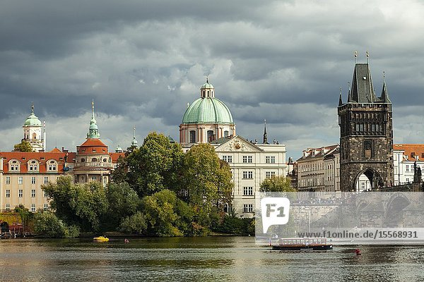 Autumn afternoon on Vltava river in Prague  Czechia.