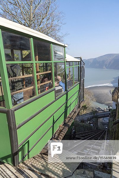 Lynton  Devon  England  UK. March 2019. The Lynton & Lynmouth cliff railway which operates onwater power between the two towns of Lynton & Lynmouth at the bottom. View from the top station.