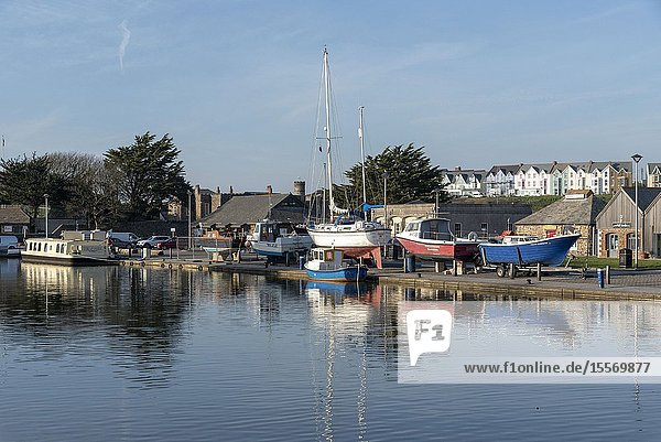 Bude  North Cornwall  England  UK. February 2019. Bude Canal with boats on the wharf  out of the water for winter.