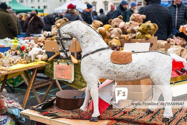 Rocking horse at Vienna Naschmarkt Linke Wienzeile flea market antique market. Austria. Rocking horse at Vienna Naschmarkt Linke Wienzeile flea market antique market. Austria.