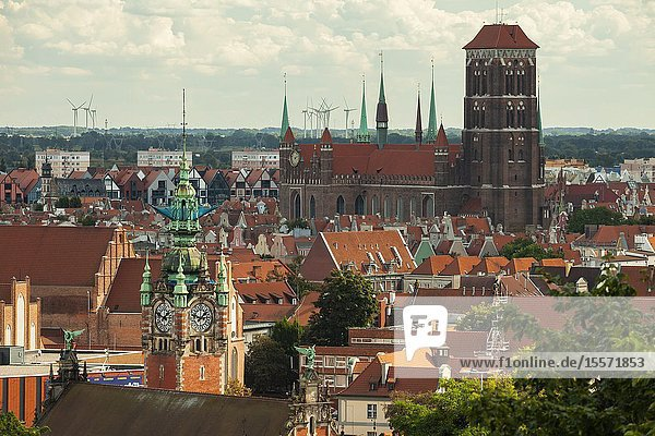 Summer afternoon in Gdansk old town  Poland. St Mary's church dominates the skyline.