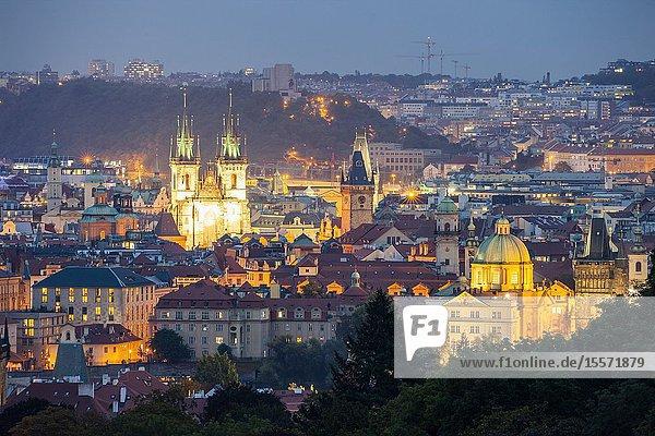 Night falls in Prague  Czechia.