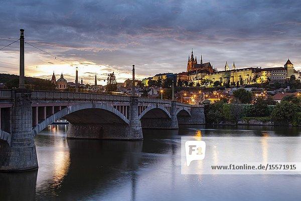 Evening at Manes Bridge in Prague.