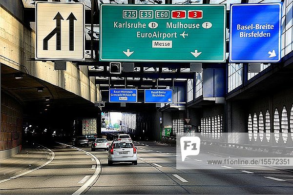 Highway to Germany in Basel  Switzerland  Europe