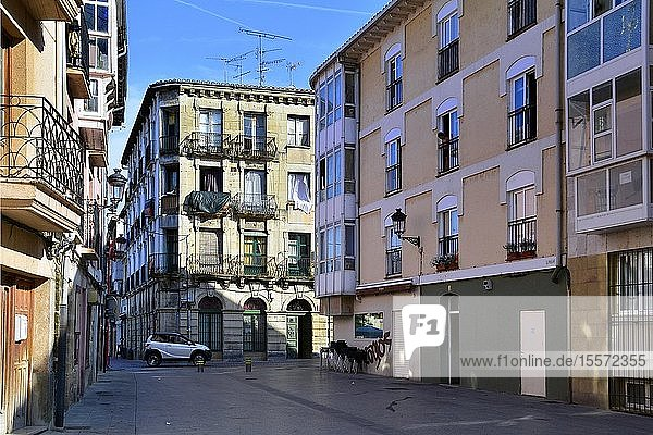 View for Calle Real Aquende from Plaza Sta. María near Plaza de España  Miranda de Ebro - historic part of the city  Burgos province  Castile and León  on the border with the province of Álava and the autonomous community of La Rioja  Spain  Europe