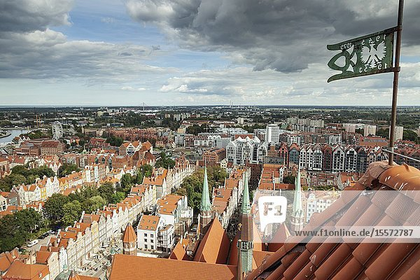 A view on Gdansk old town from St Mary's basilica tower  Poland.