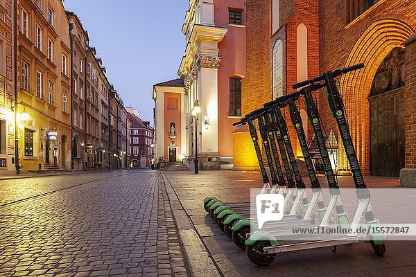 Evening in Warsaw old town  Poland.
