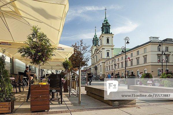Summer afternoon on Krakowskie Przedmiescie in Warsaw  Poland.