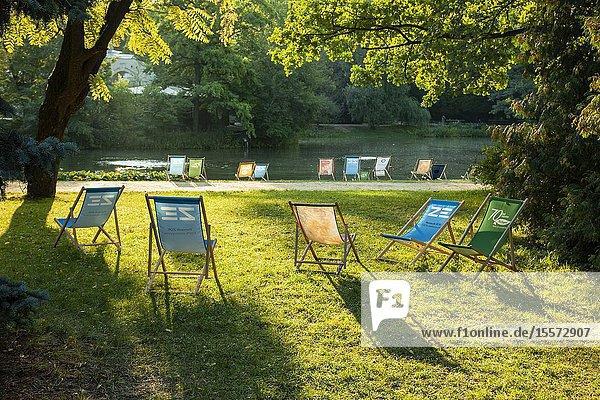 Morning in Lazienki (Royal Baths) Park in Warsaw  Poland.