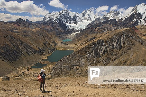 View of Laguna Jahuacocha and the entire Cordillera Huayhuash  Ancash  Peru.