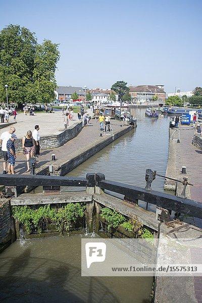 Lock on the River Avon at Stratford-Upon-Avon UK.