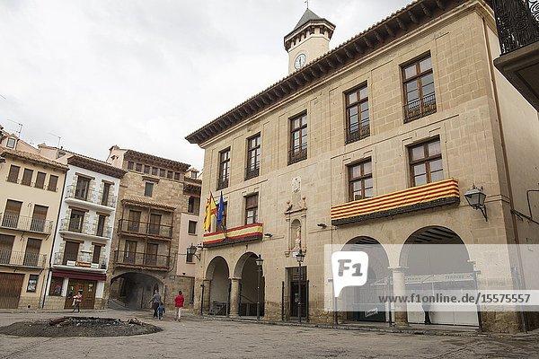 Old mediterranean village Mora de Rubielos  province of Teruel  Aragon-Spain. Town hall building.